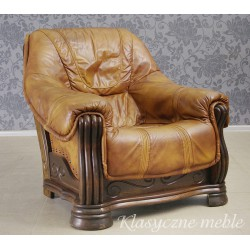 Fotel dębowy skóra naturalna. 5876