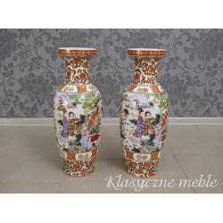 3447 Wazony porcelanowe wys. 63 cm Chiny Japonia 2 szt. komplet