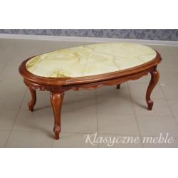 ława glamour stolik drewniany orzechowy marmurowy blat