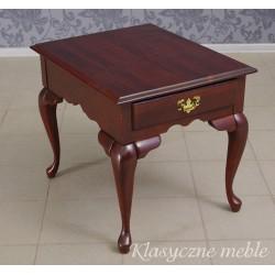 Stolik z drewna egzotycznego z szufladą. Meble kolonialne.