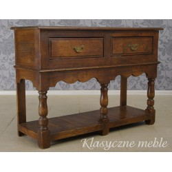 Konsola drewniana, dębowa z szufladami. Meble Nysa