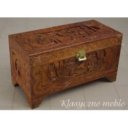 Skrzynia orientalna drewno egzotyczne rzeźbiona