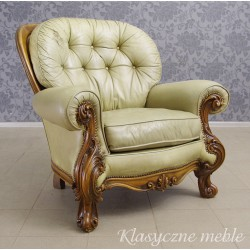 Fotel neobarokowy skóra naturalna. 5463