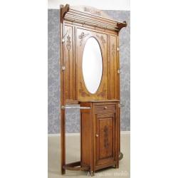 Garderoba secesyjna - wieszak z lustrem, szafką i ociekaczem na parasole. 5527