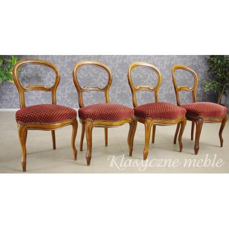 Krzesła salonowe z końca XIX w. tzw. krzesła balonowe. 5530